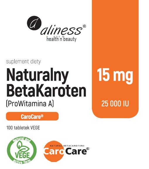 ALINESS Naturalny BetaKaroten 15 mg (ProWitamina A 25 000 IU) 100tabl.