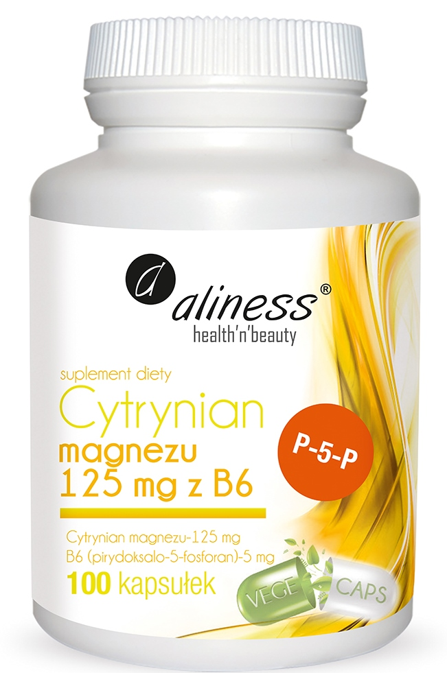 Cytrynian Magnezu 125 mg z B6 (P-5-P) Aliness - witaminy, suplementy diety